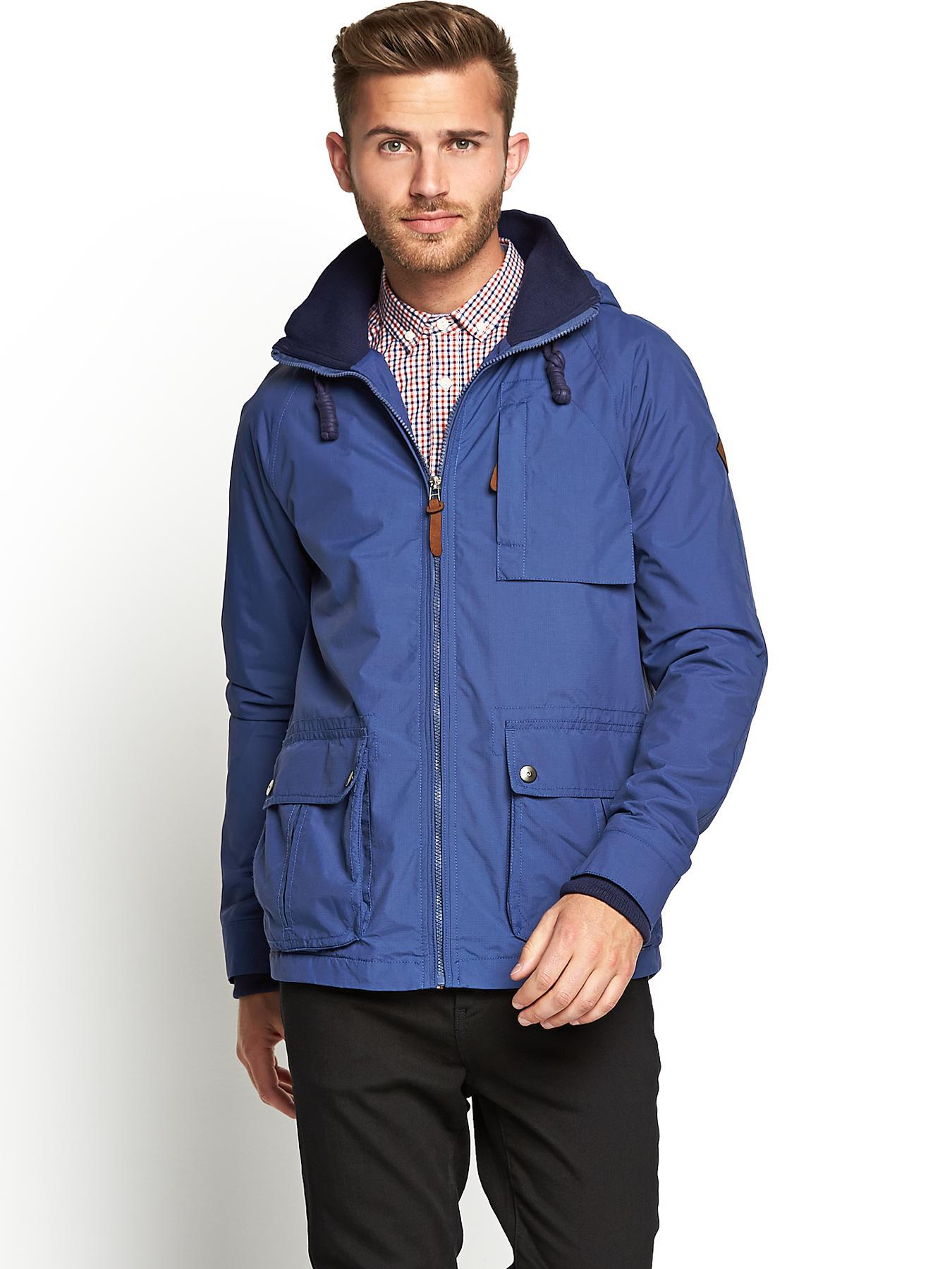 Mens Hooded Ripstop Jacket, Blue