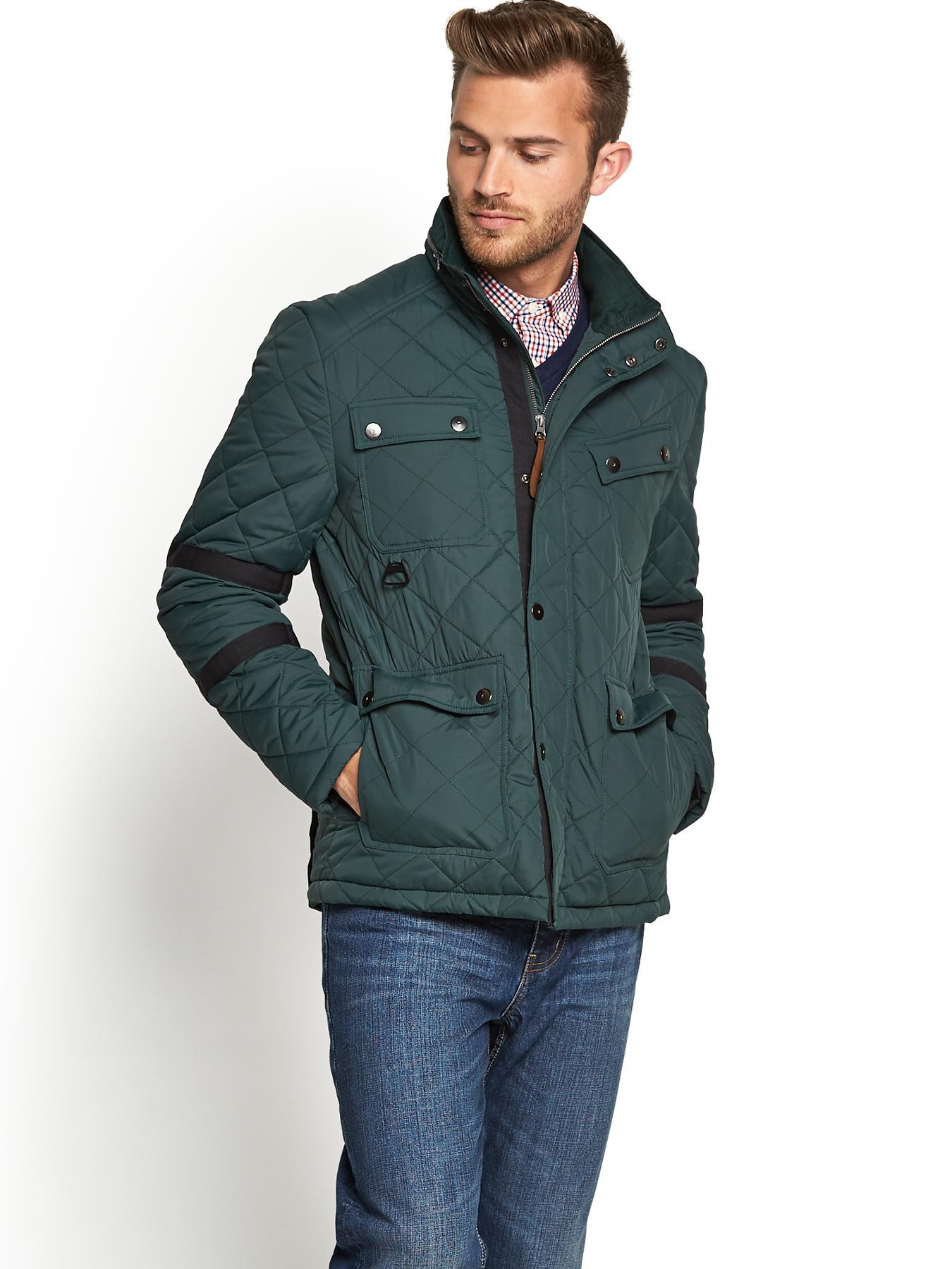 Mens Quilted Four Pocket Jacket, Green