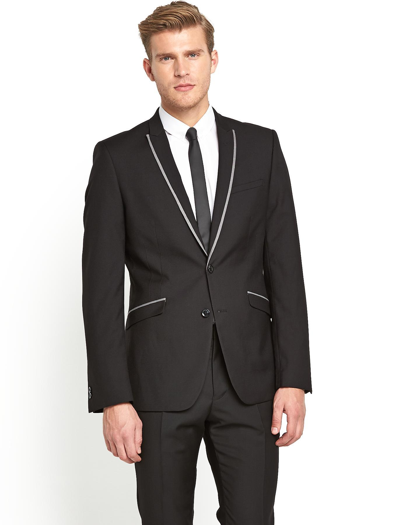 Mens Peak Lapel Single Breasted Slim Fit Suit Jacket - Black, Black