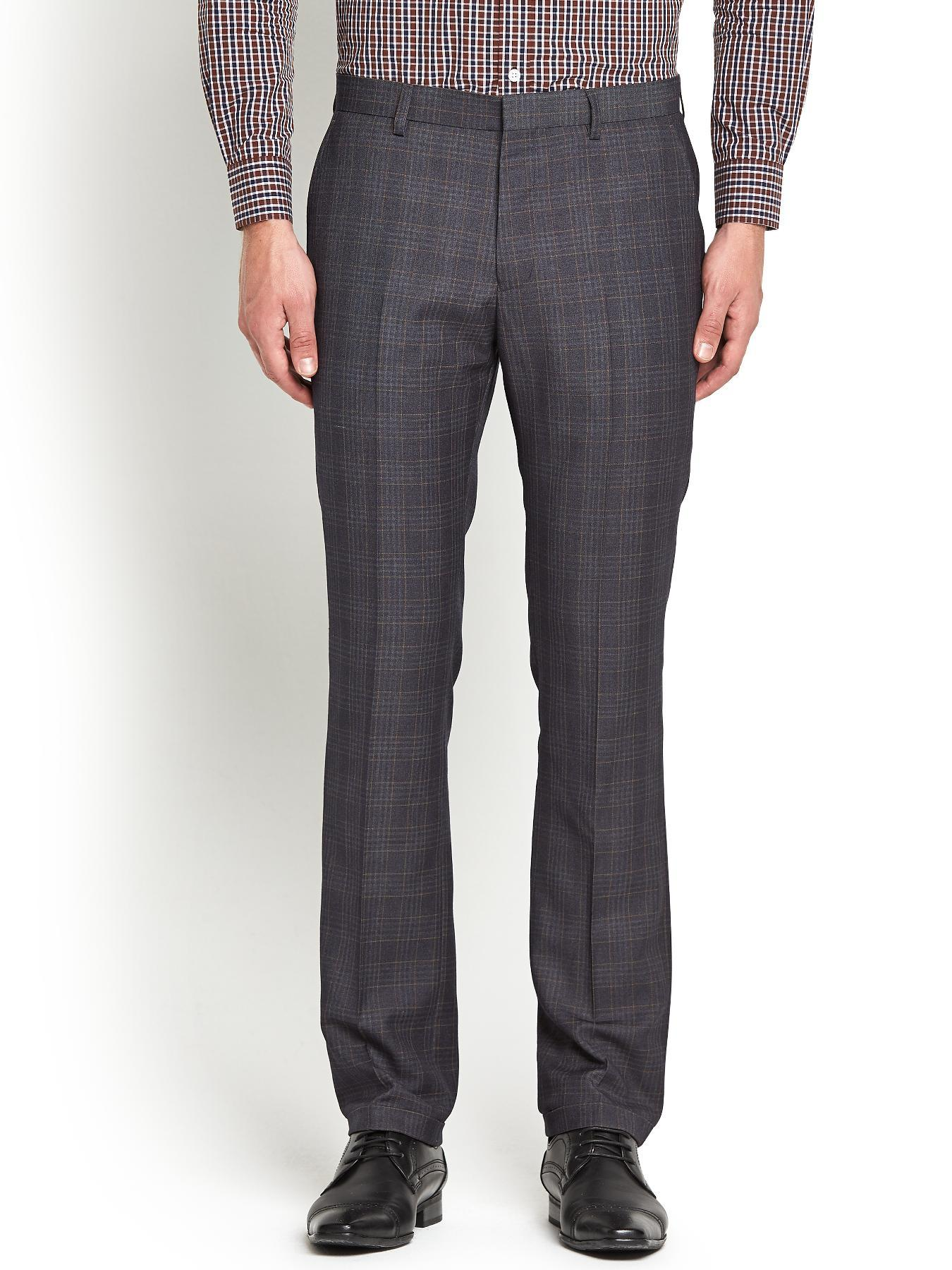Mens Suit Trousers - Brown Check, Brown