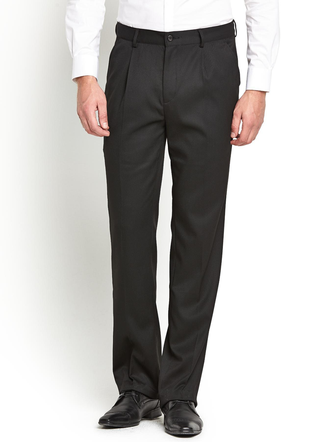Mens Pleat Front Trousers, Black