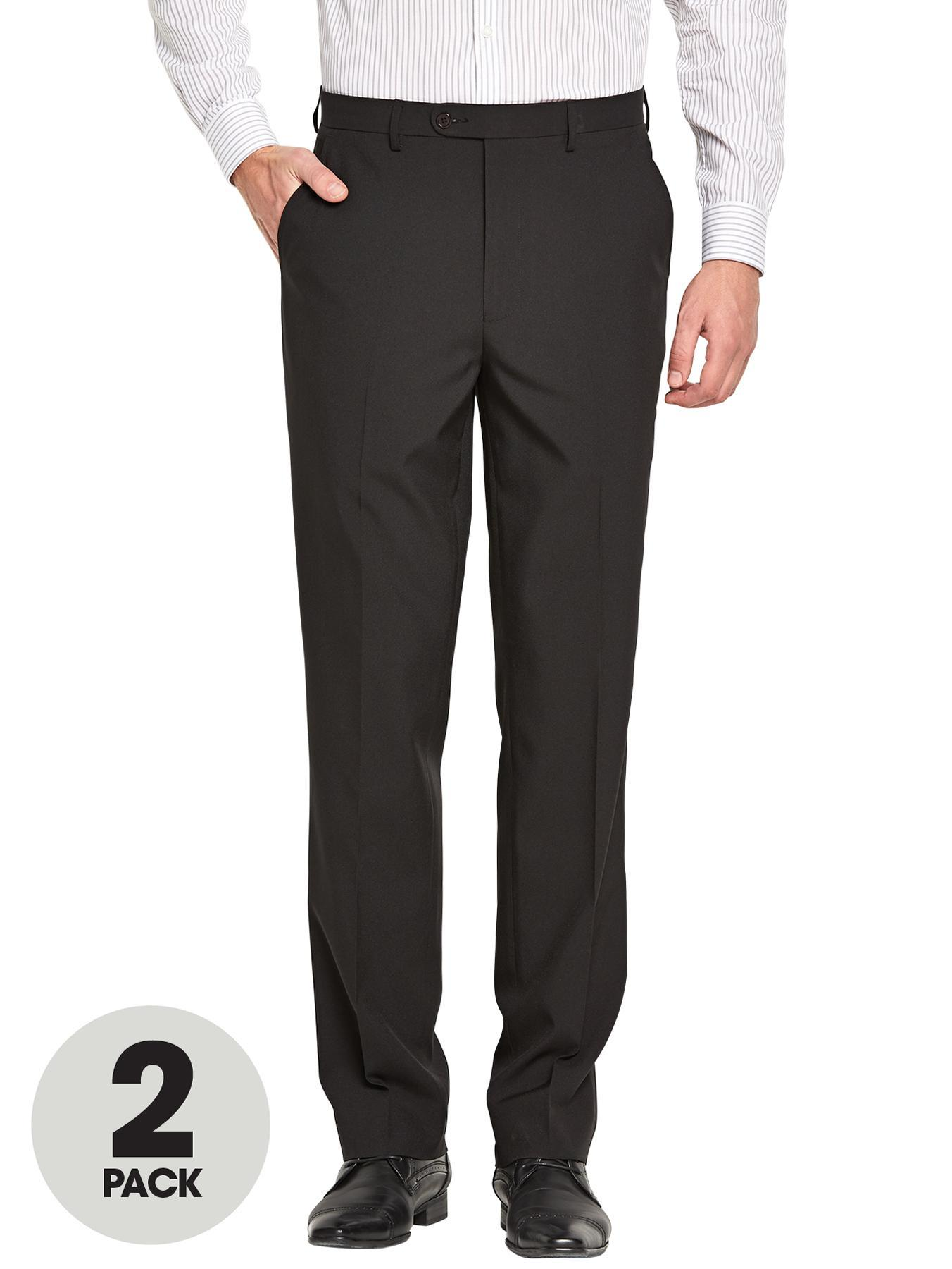Mens Polyester Trousers (2 Pack), Black