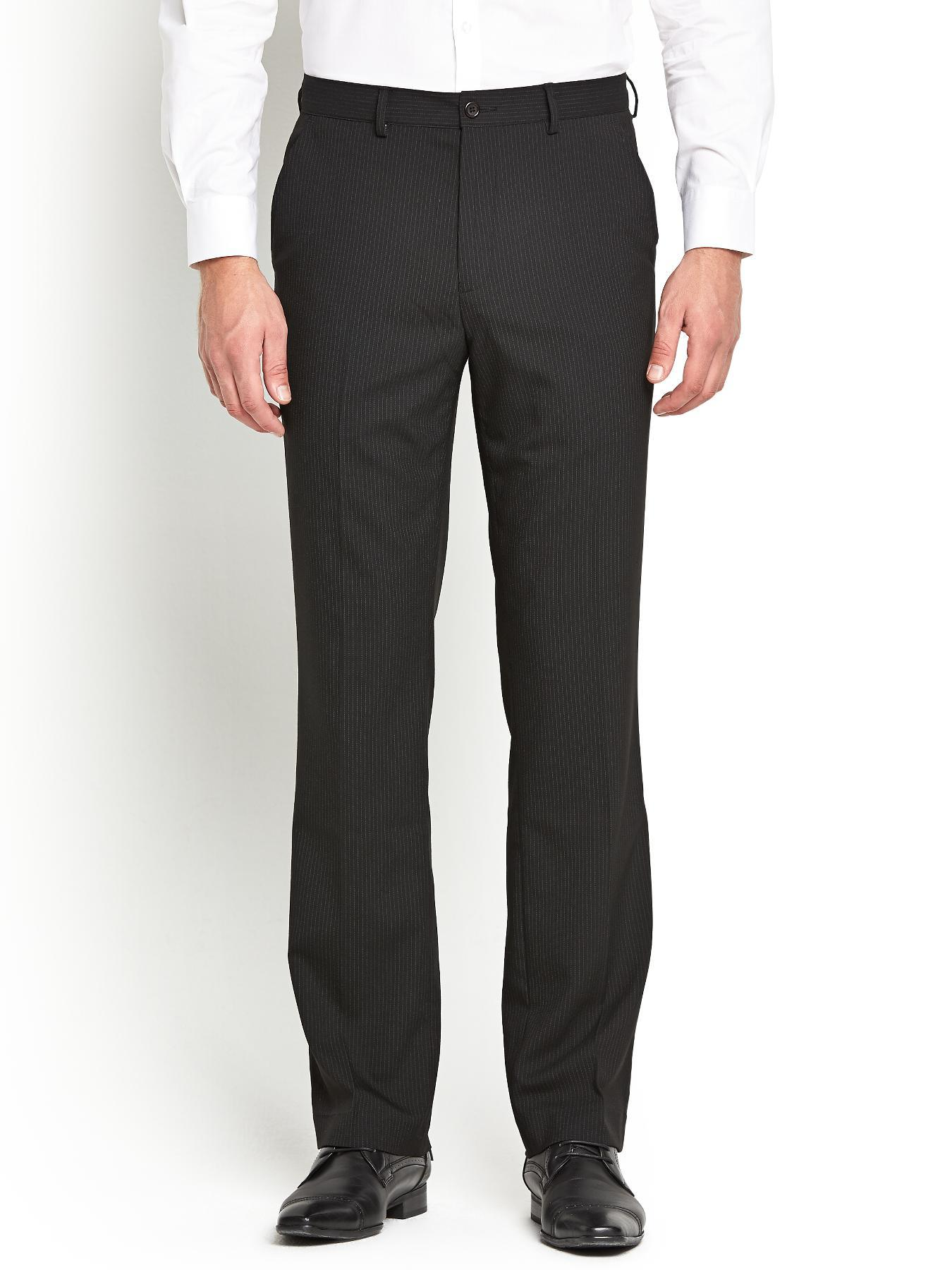 Mens Flat Front Smart Trousers, Black