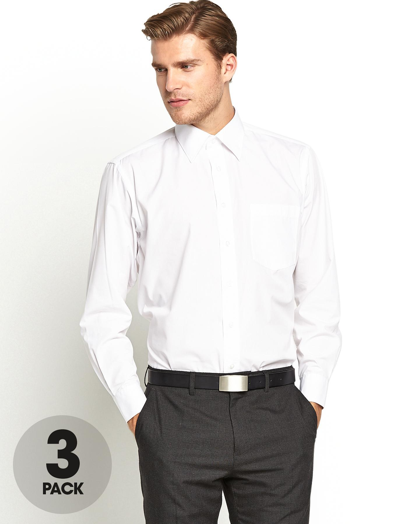 Mens Regular Fit Shirts (3 Pack) - White, White