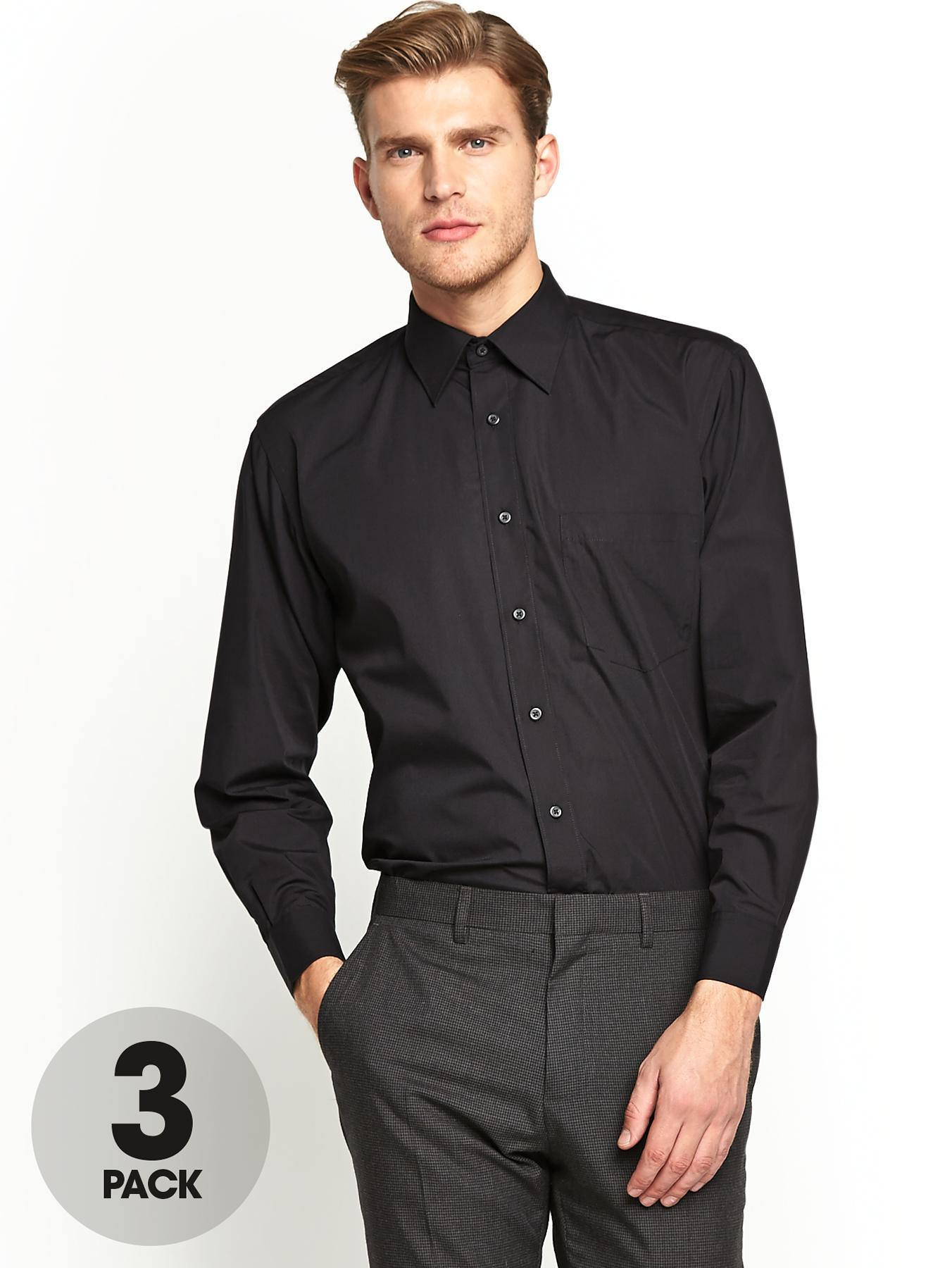 Mens Regular Fit Shirts (3 Pack) - Black, Black