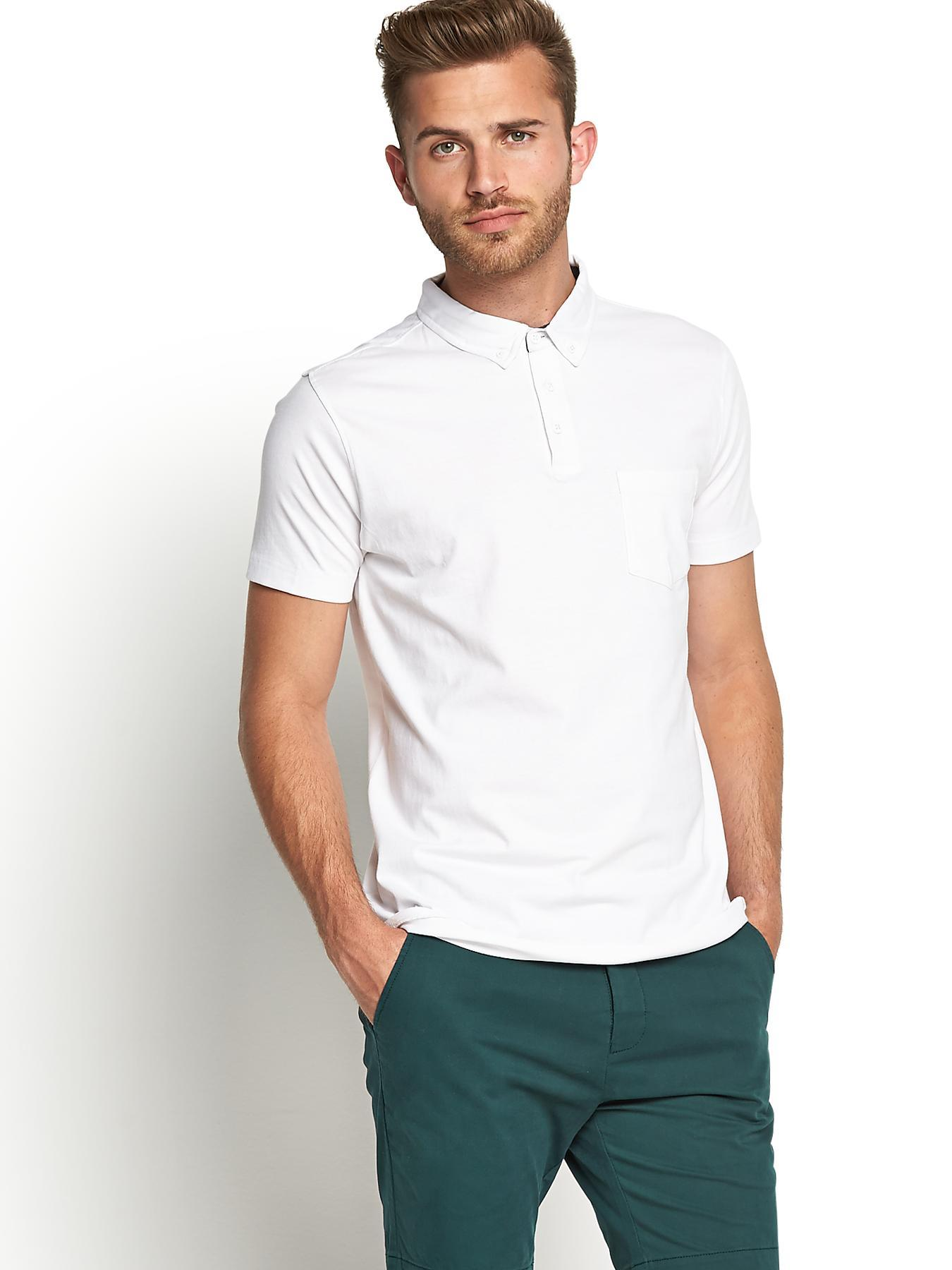 Short Sleeve Slim Fit Mens Jersey Polo Shirt, White at Littlewoods