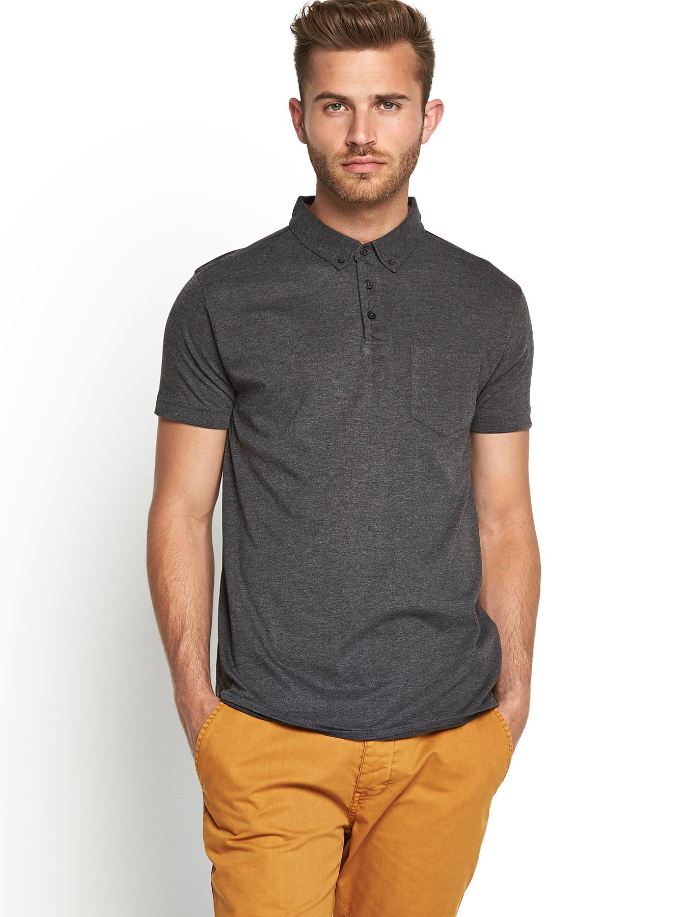 Short Sleeve Slim Fit Mens Jersey Polo Shirt, Grey at Littlewoods