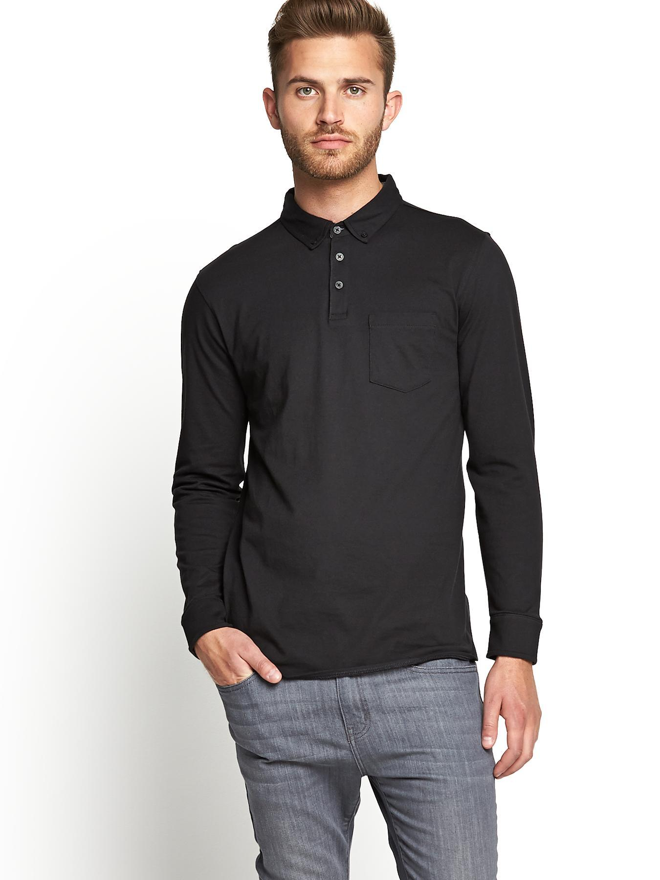 Mens Long Sleeve Slim Fit Jersey Polo T-shirt, Black at Littlewoods