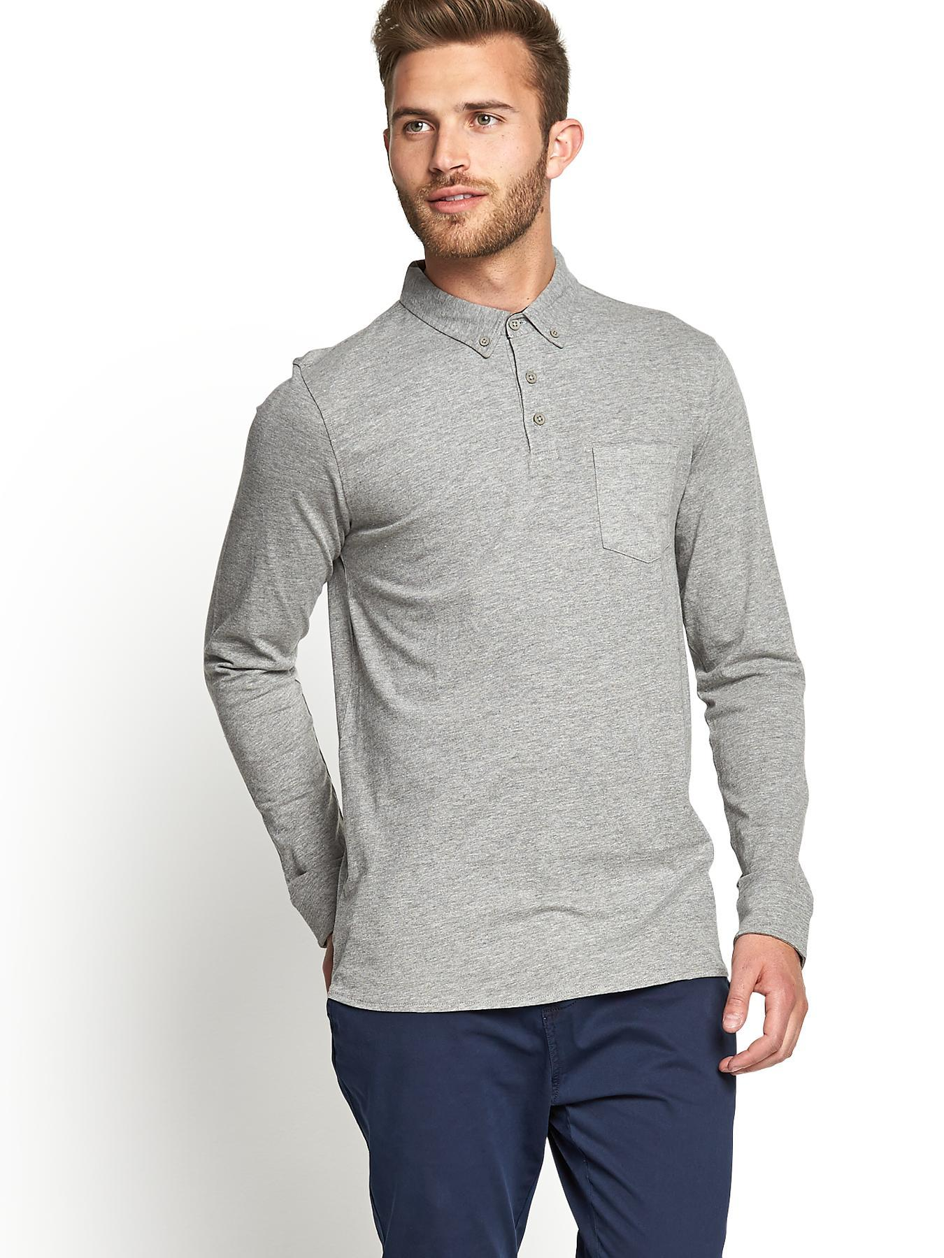 Mens Long Sleeve Slim Fit Jersey Polo T-shirt, Grey at Littlewoods