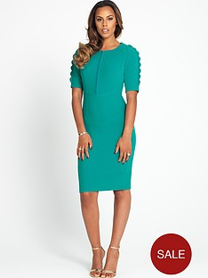 scalloped-sleeve-pencil-dress