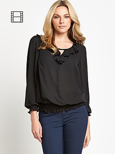 ruffle-front-blouse