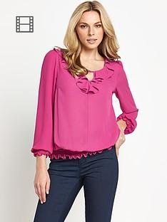 savoir-ruffle-front-blouse