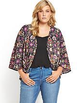 Folk Print Jersey Kimono Jacket
