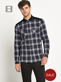 ls-double-pocket-brushed-check-shirt