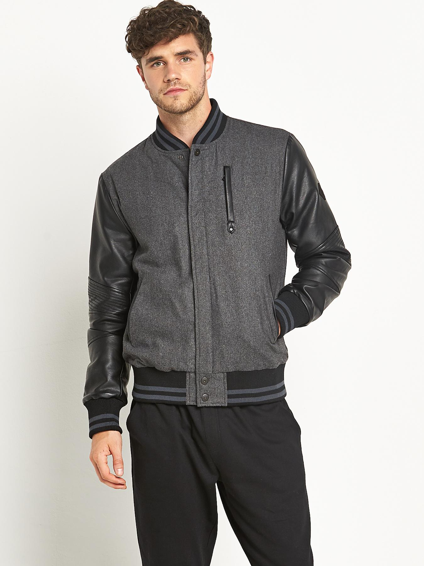 Mens PU Sleeve Baseball Jacket, Charcoal