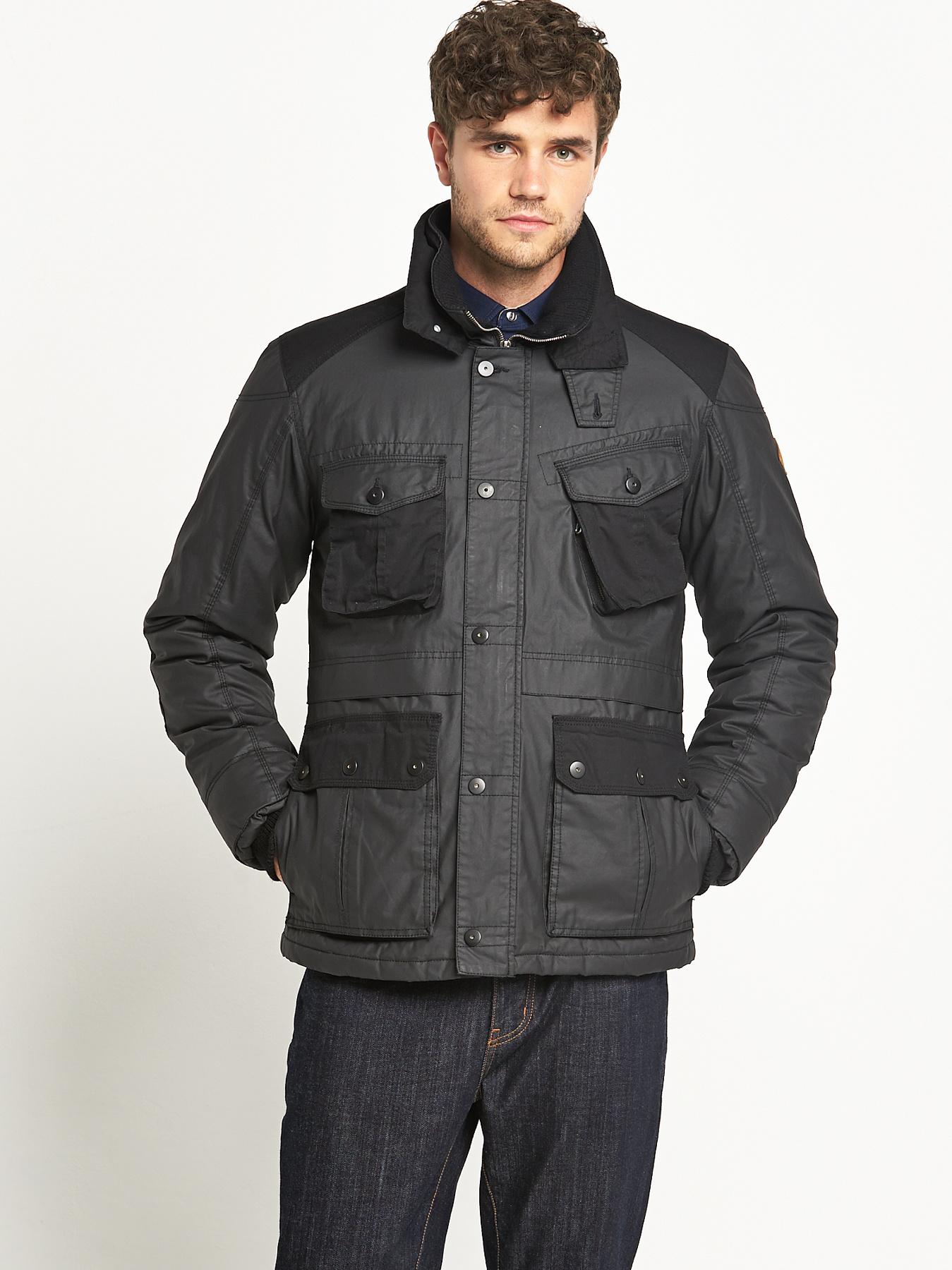 Mens Four Pocket Wax Effect Jacket - Black, Black