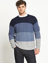 Mens Colourblock Cable Knit Jumper - Blue