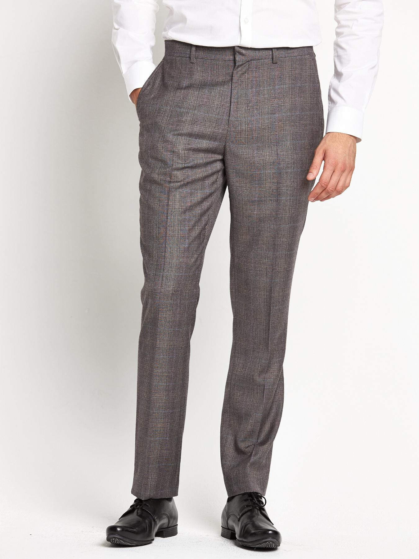 Mens Peak Lapel Suit Trousers, Grey