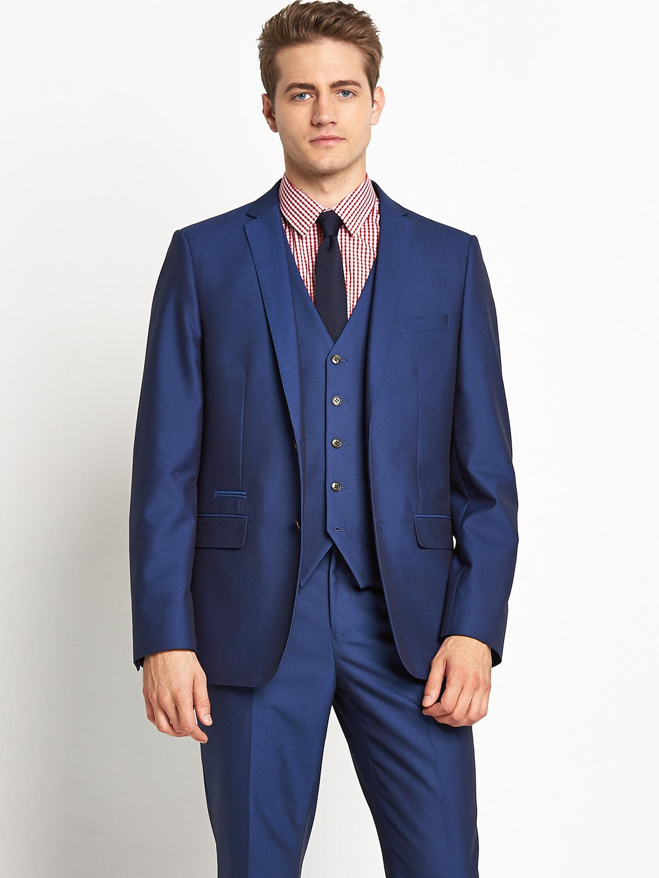 Mens Peak Lapel SB3 Tonic Suit Jacket, Blue