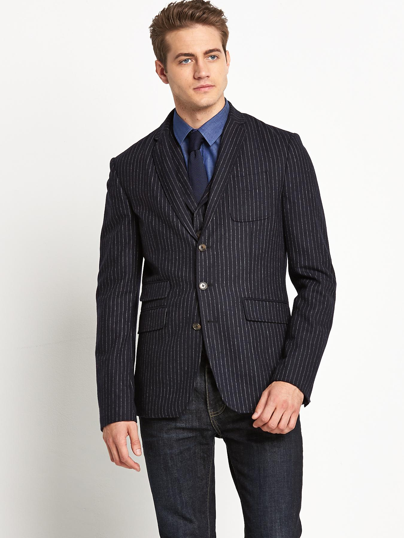 Mens Single Breasted Chalk Stripe Jacket, Navy