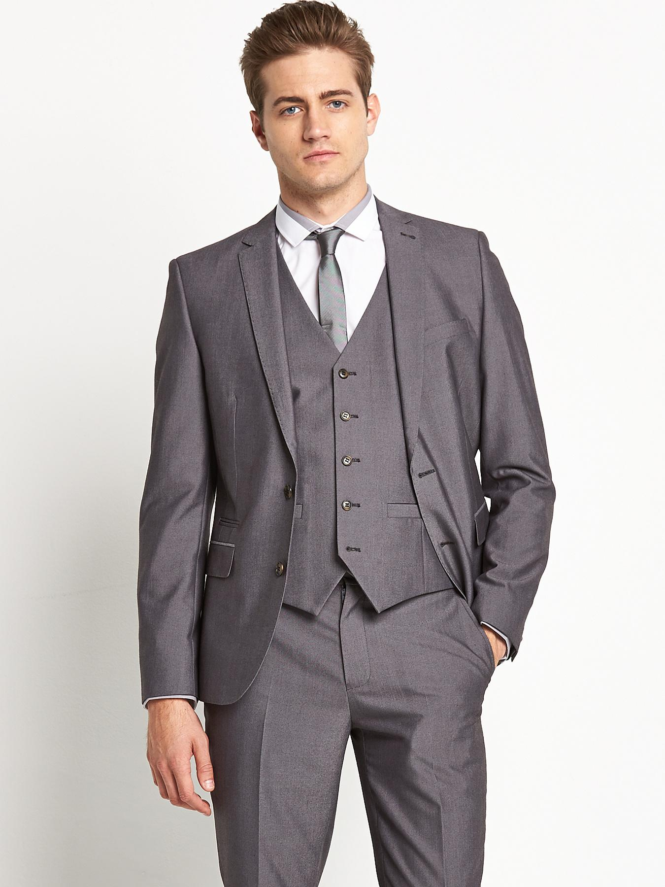 Mens Tonic SB3 Peak Lapel Suit Jacket, Grey