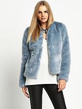 Short Crop Faux Fur Jacket