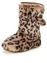 Leona Fur Animal Print Boots