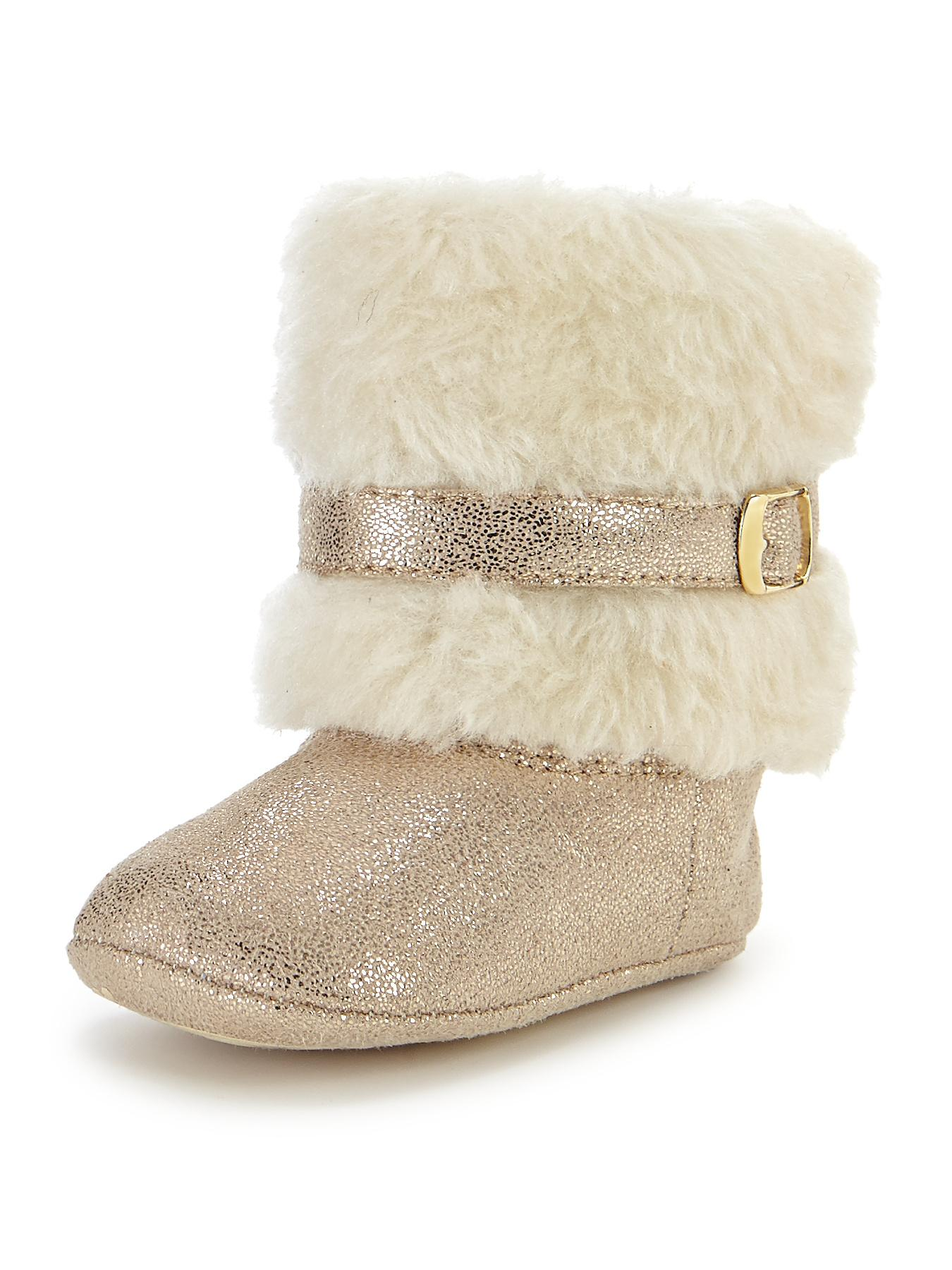 Angelique Faux Fur Cuff Pram Boots, Black,Gold