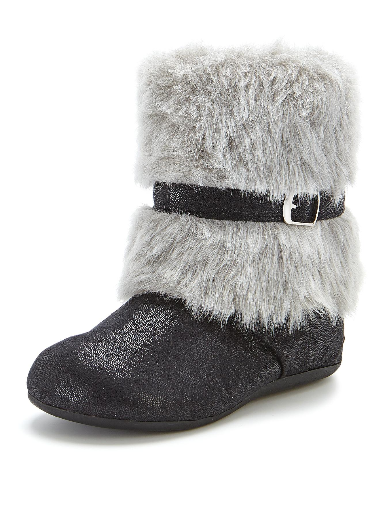 Angelica Faux Fur Cuff Boots, Black,Gold