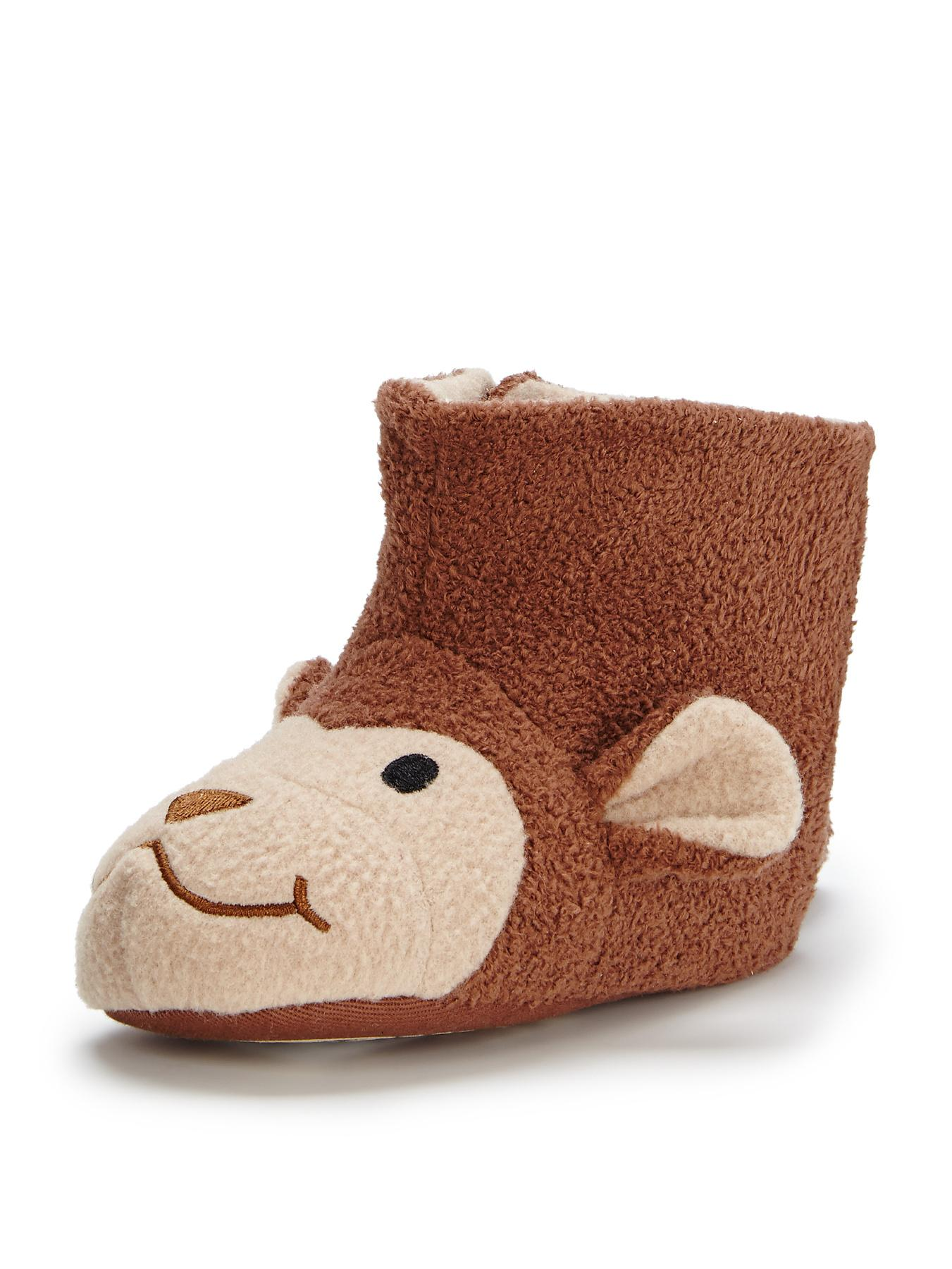 Monty Monky Slipper Pram Booties, Brown