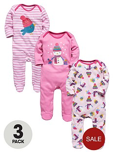 baby-girls-3-pack-christmas-snowman-sleepsuits