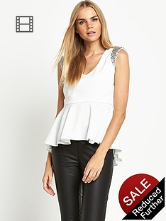 love-label-diamanteacute-padded-shoulder-top