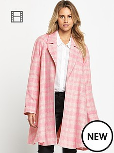 love-label-check-swing-coat