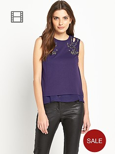 definitions-embellished-shoulder-double-layer-top
