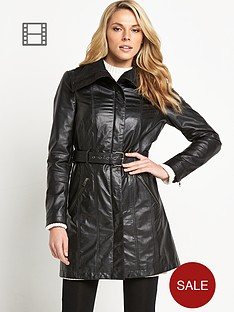 savoir-leather-belted-trench