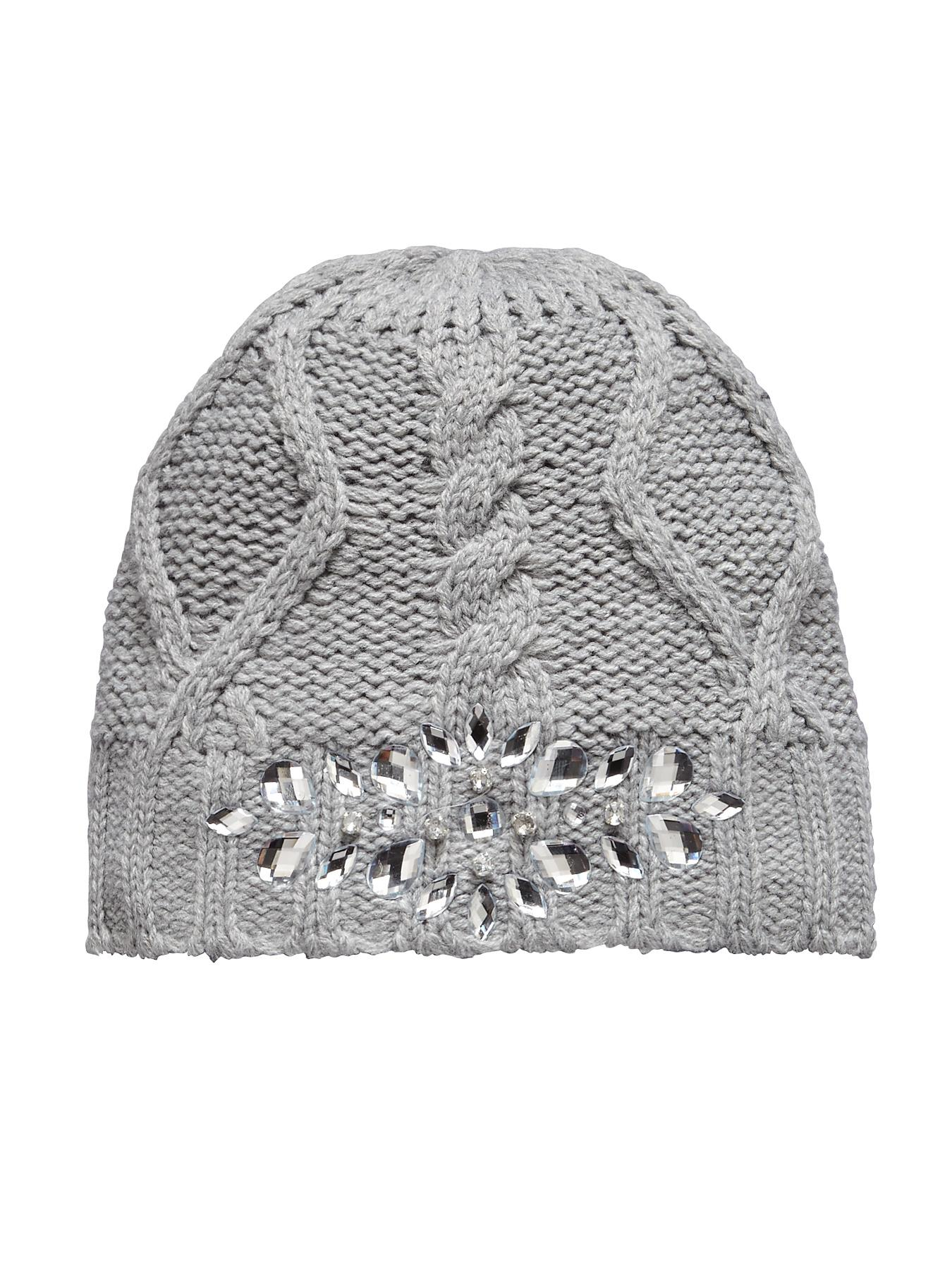 Jewelled Beanie Hat, Grey,Pink,Green at Littlewoods