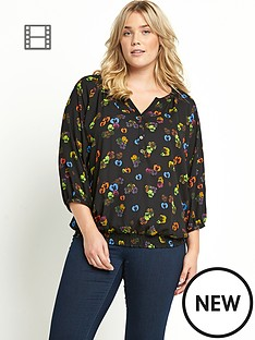 shirred-hem-34-sleeve-gypsy-blouse