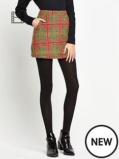 glamorous-check-wool-skirt