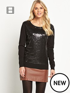 definitions-sequin-panel-mesh-front-jumper