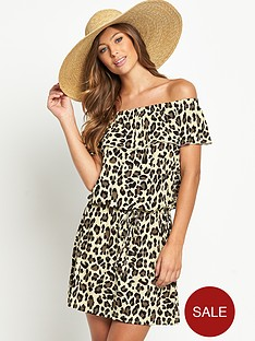 resort-animal-print-bandeau-jersey-beach-dress
