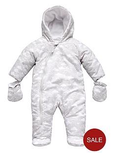 unisex-baby-fleeced-lined-cloud-print-snowsuit-mitts-set