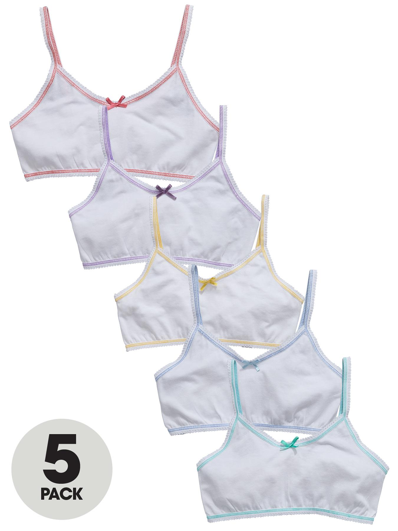 Contrast Bow Crop Tops (5 pack), White at Littlewoods