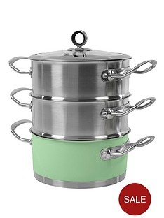 morphy-richards-18cm-3-tier-steamer-sage