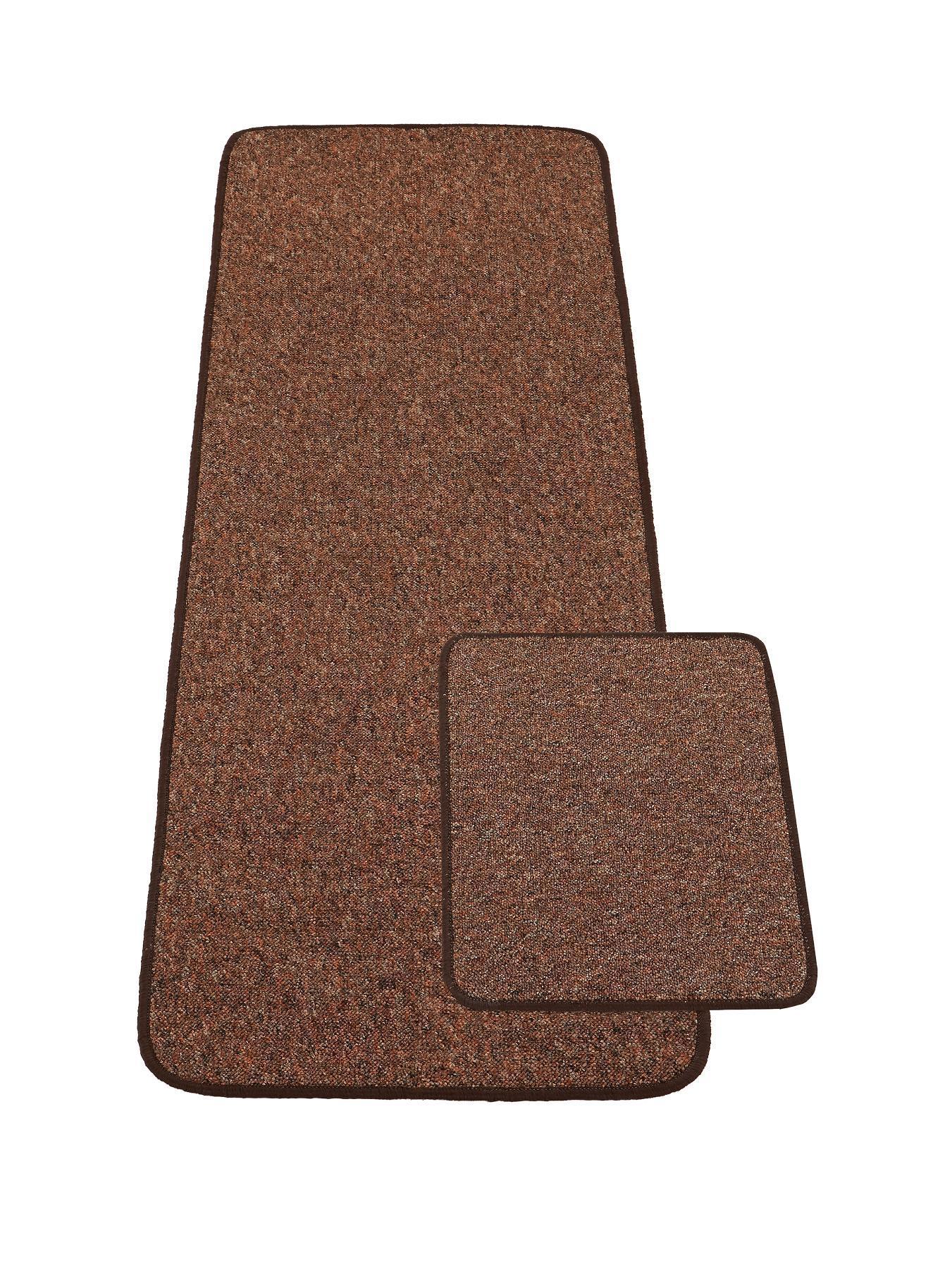 York Tweed Mat With Free Door Mat, Red,Chocolate,Charcoal.