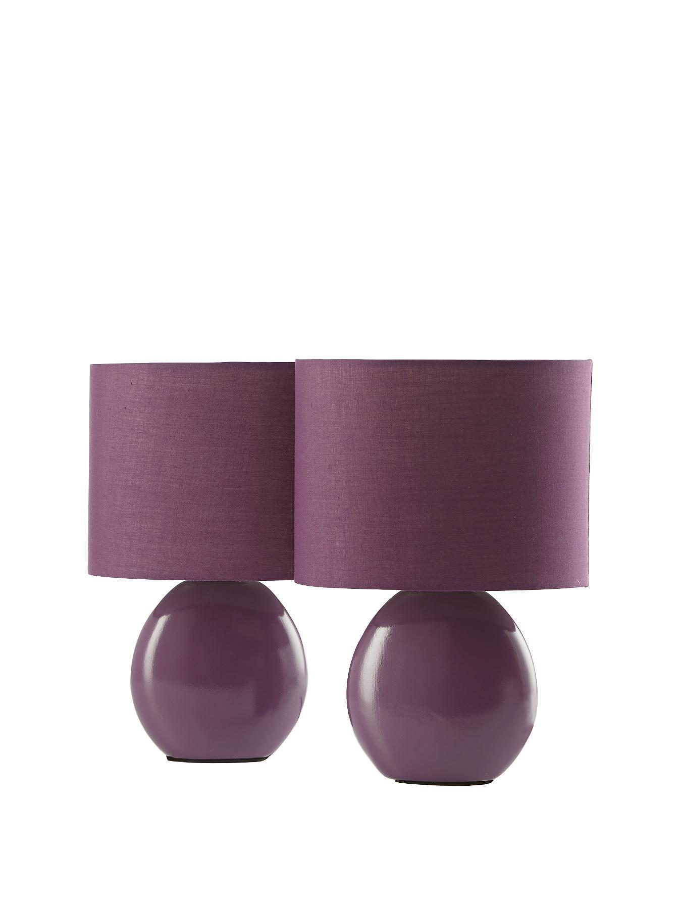 Mia Table Lamps (2 Pack), Red,Ivory,Plum,Chocolate,Black