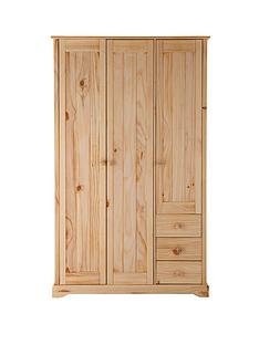baltic-3-door-3-drawer-solid-pine-wardrobe