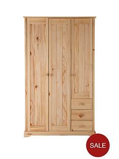 baltic-3-door-3-drawer-solid-pine-wardrobe