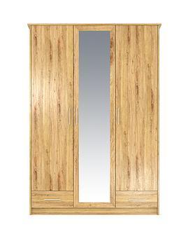 taunton-3-door-2-drawer-mirrored-wardrobe