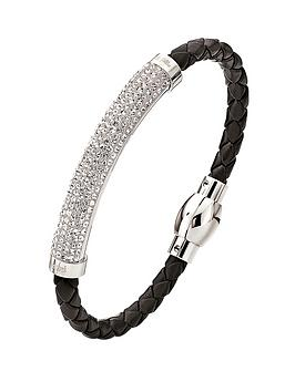 folli-follie-dazzling-crystal-set-silver-plated-and-black-pu-bracelet