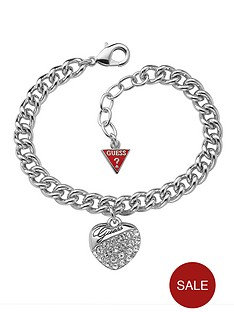 guess-rhodium-plated-crystal-heart-charm-bracelet